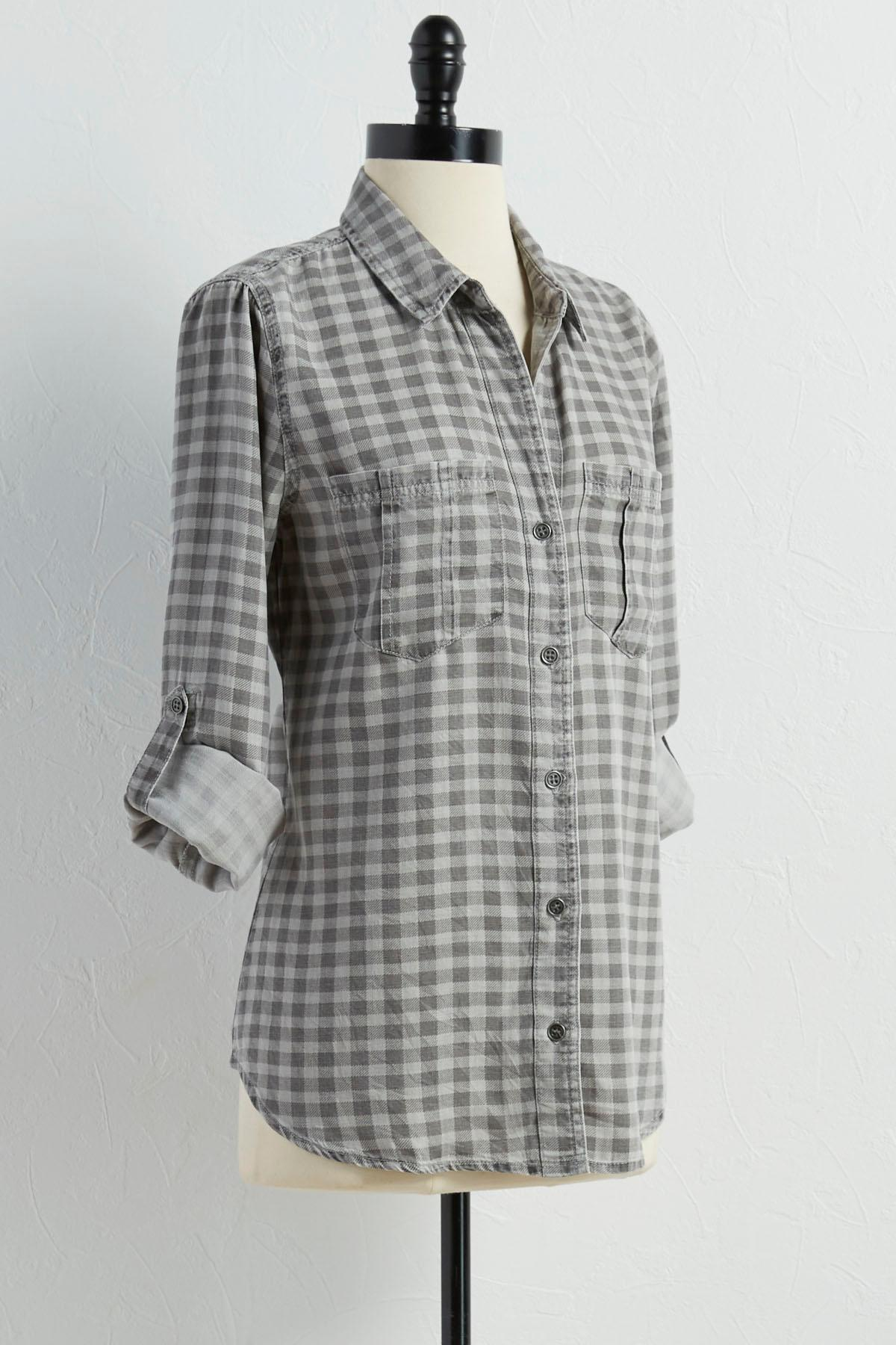 Gingham Boyfriend Tunic Shirt