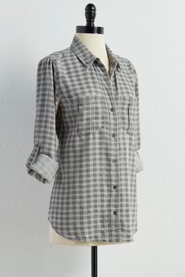 gingham boyfriend tunic shirt