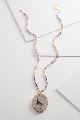 beaded semi-precious pendant necklace