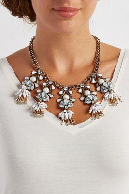 shaky bead stone bib necklace