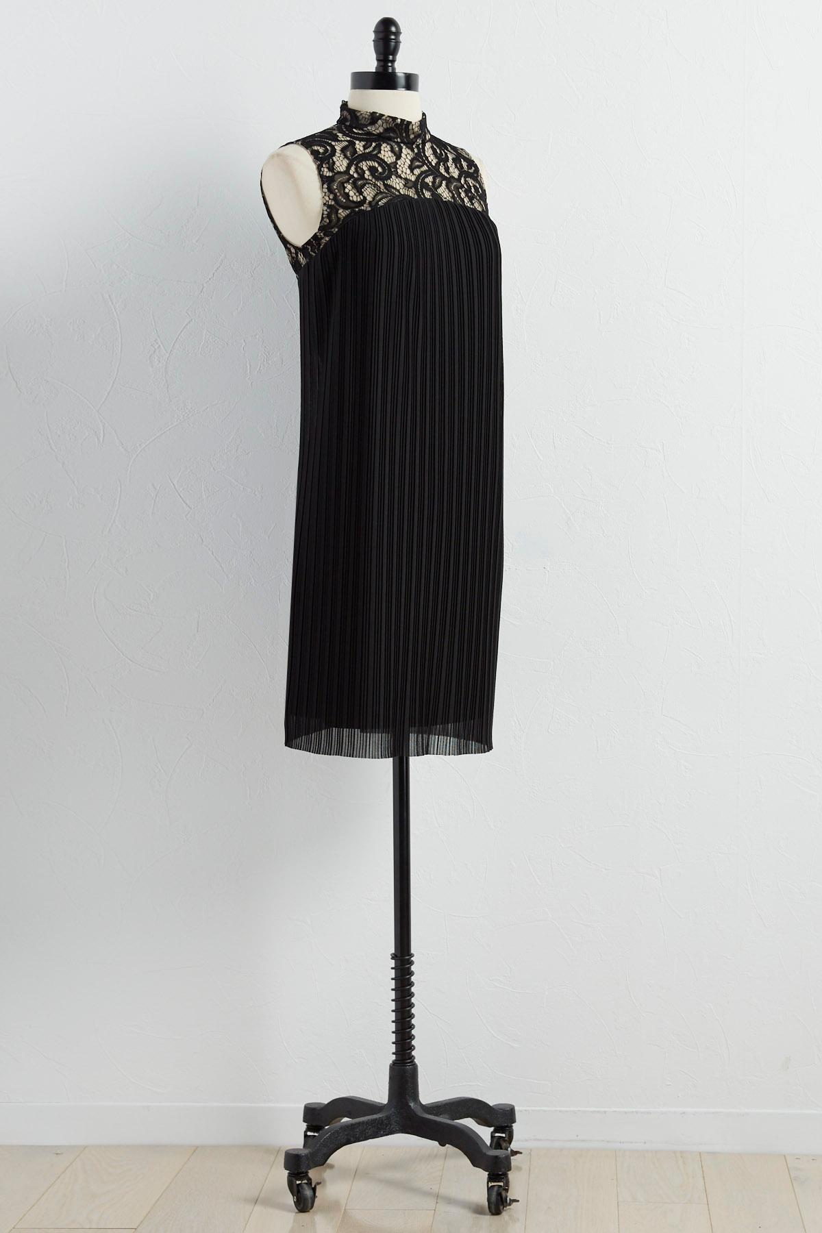 Pleated Lace Mock Neck Swing Dress