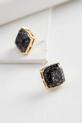 glitter cushion cut stud earrings