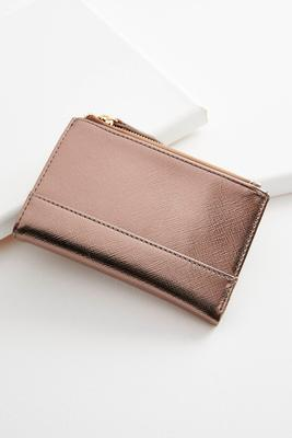 metallic double zipper mini wallet