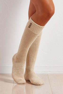 button cuff knee high socks