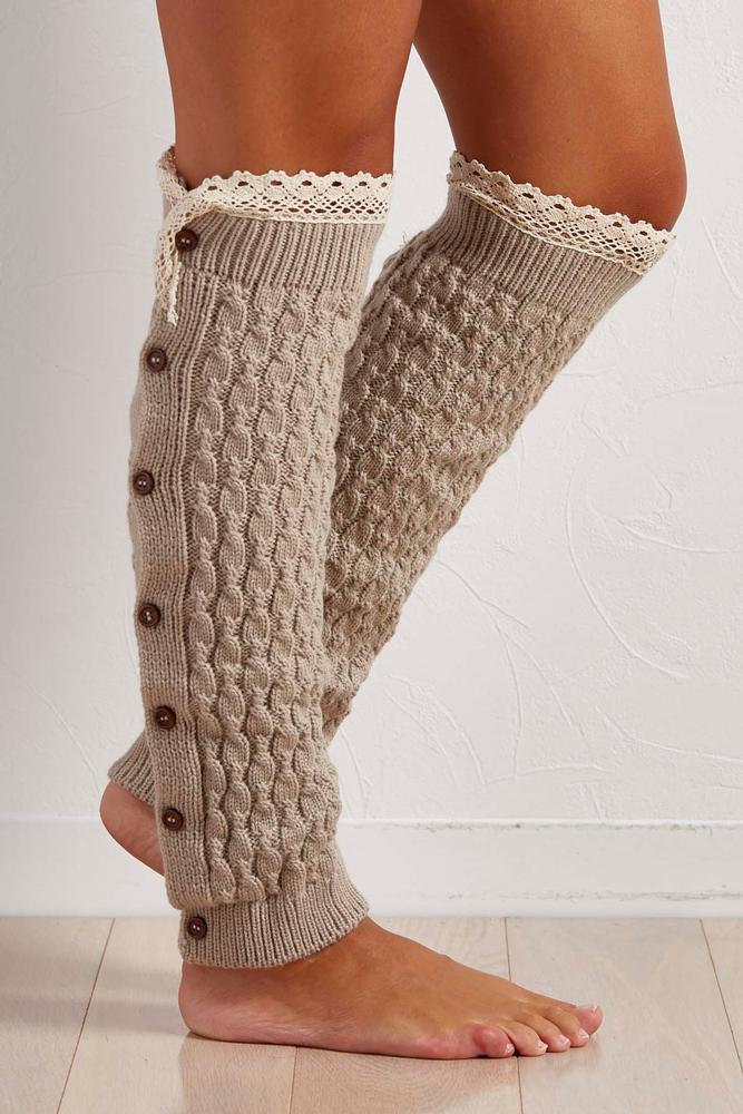 Crochet Trim Button Down Leg Warmers
