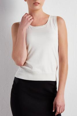 ribbed trim sweater tank