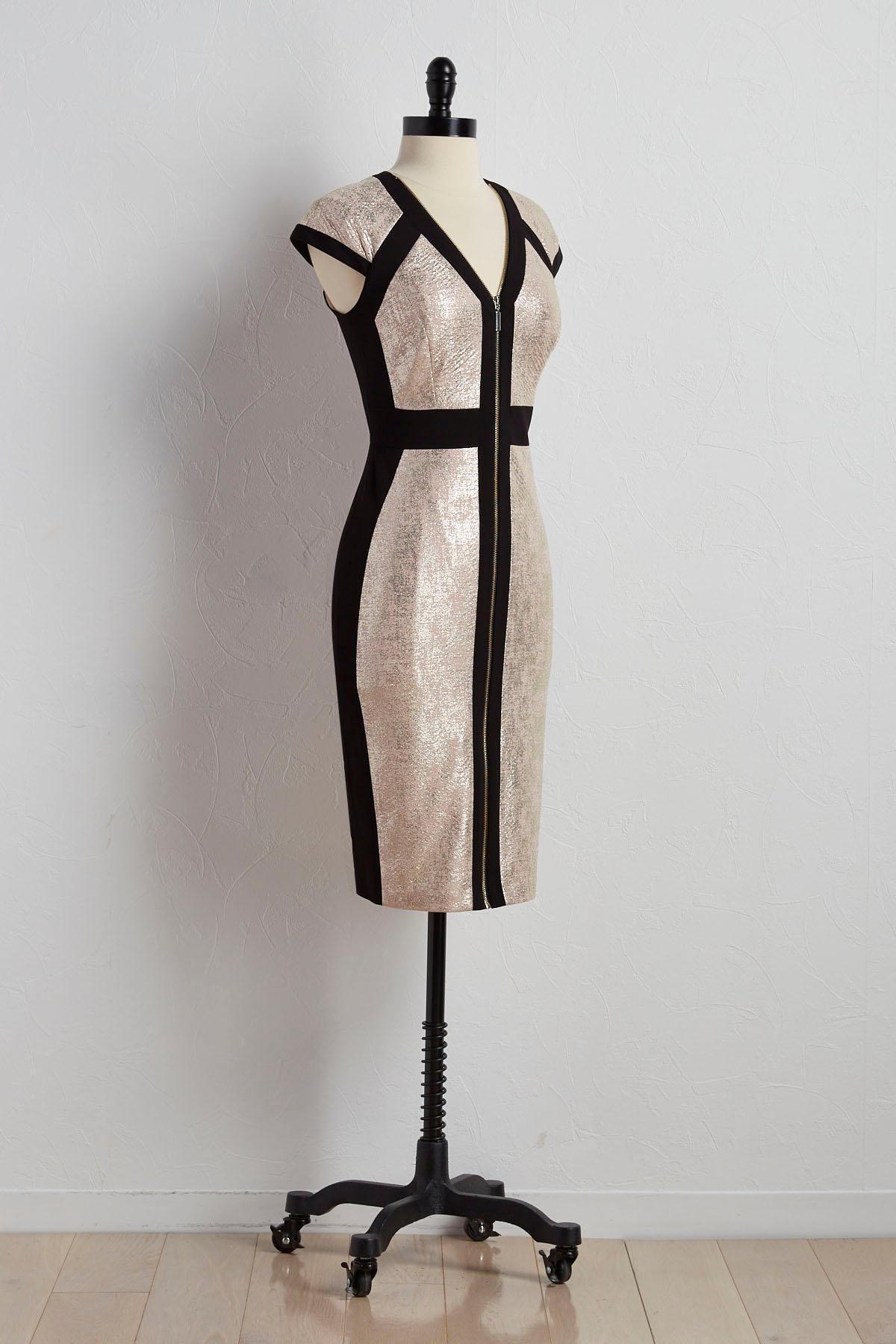 Zip Front Metallic Sheath Dress