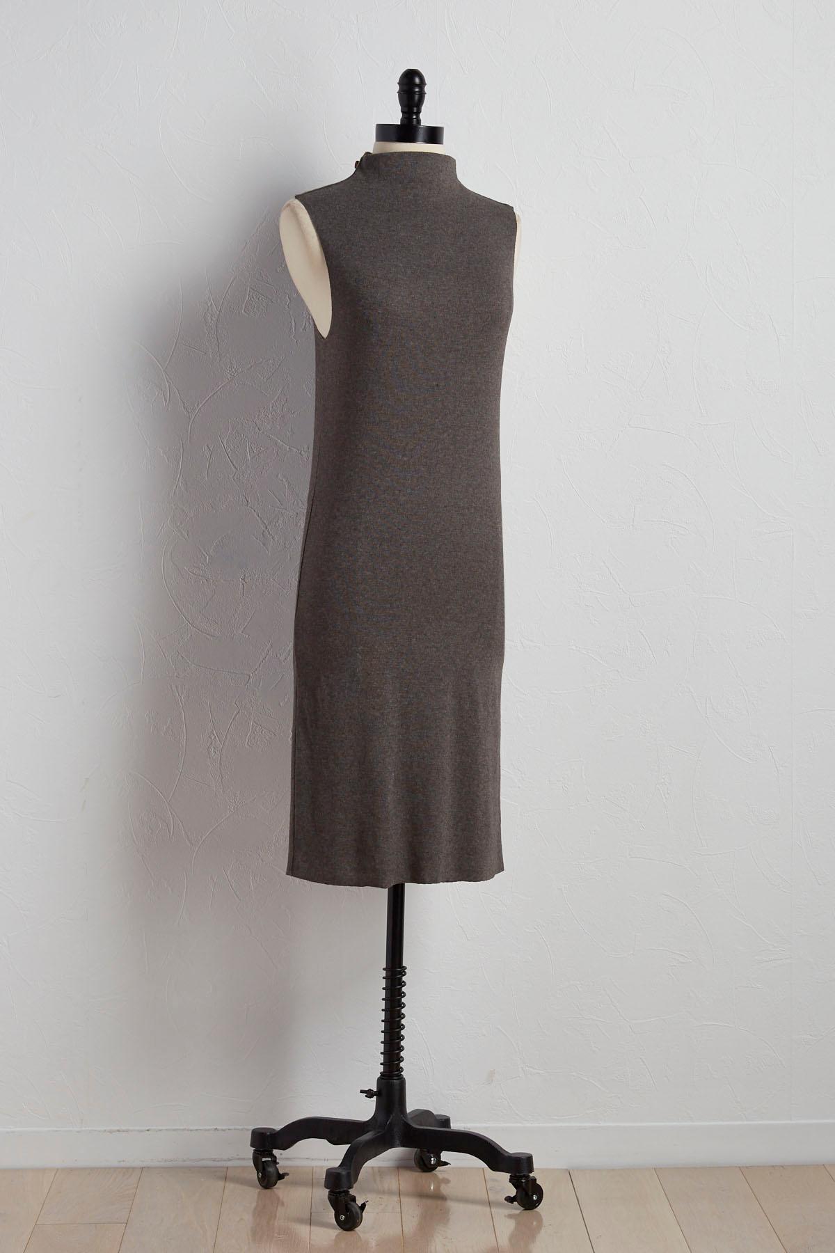 Funnel Neck Sweater Sheath Dress