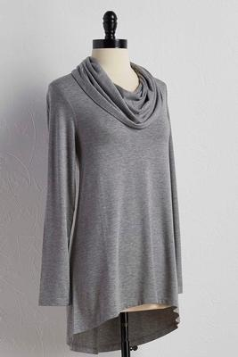 cowl neck high-low tunic