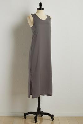 double slit satin dress