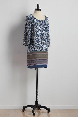bordered floral print shift dress