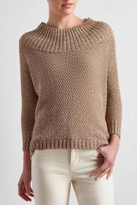 metallic boat neck sweater
