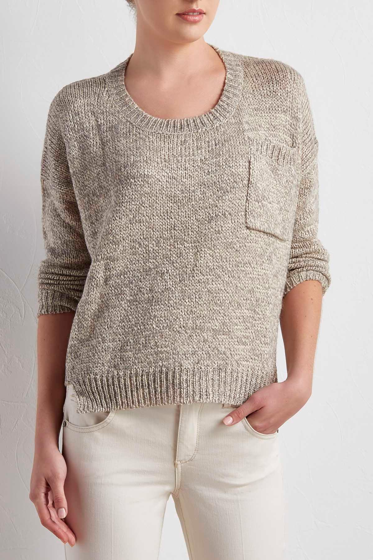 Ribbed Trim High- Low Sweater