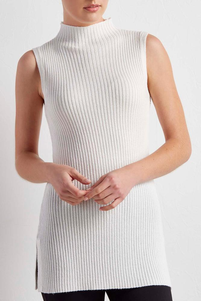 Ribbed Metallic Mock Neck Sweater