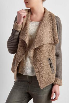sherpa trim draped cardigan
