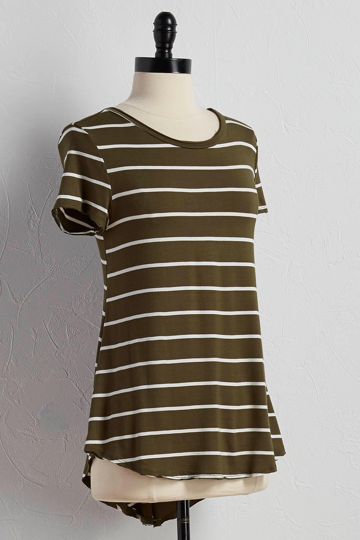 Striped Swing High- Low Tee