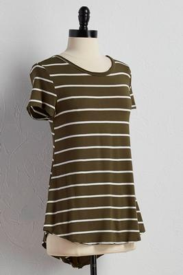 striped swing high-low tee