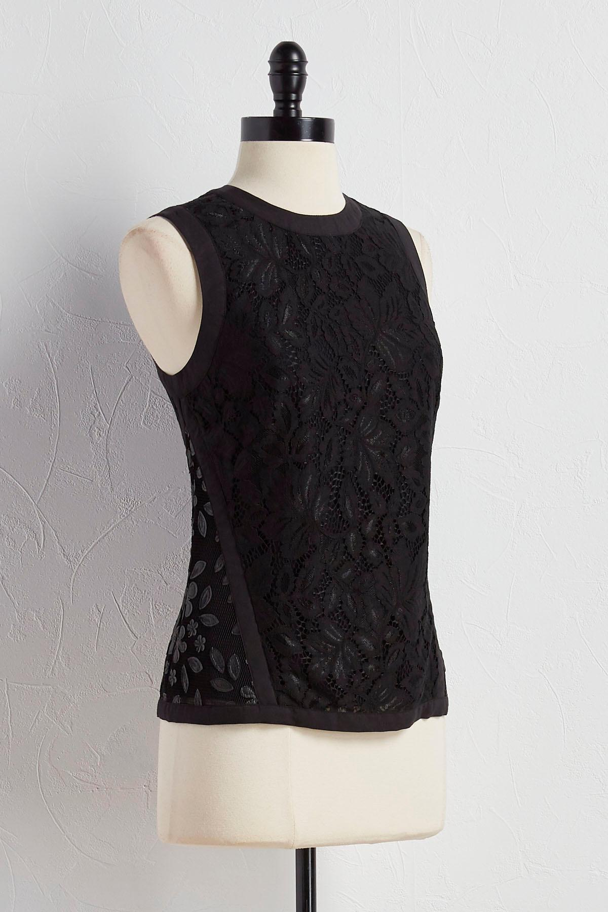 Faux Leather And Lace Trim Tank