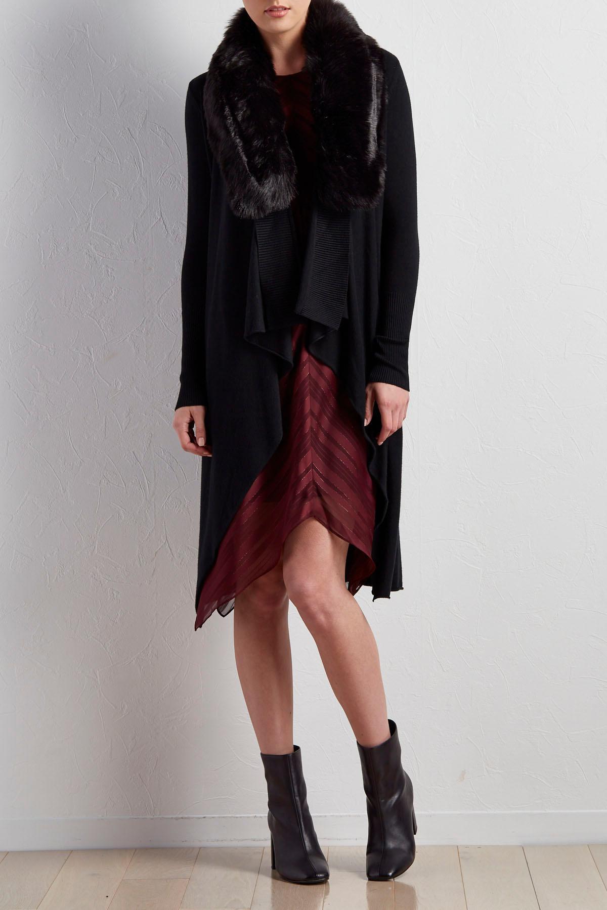 Detachable Faux Fur Collar Cardigan