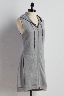hooded sweatshirt duster vest