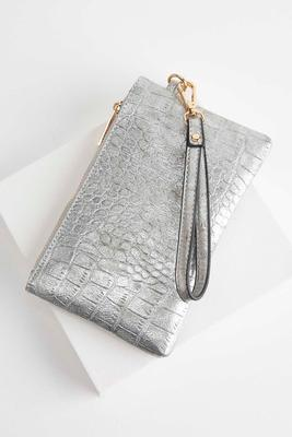 metallic crocodile wristlet