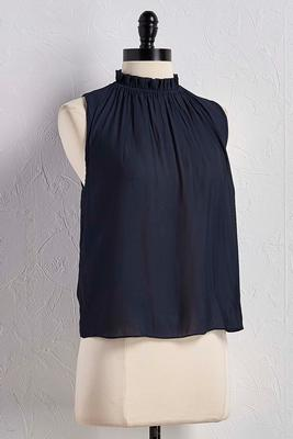 ruffled mock neck tank