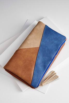 patchwork flap foldover clutch
