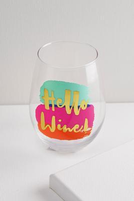 hello wine stemless wine glass