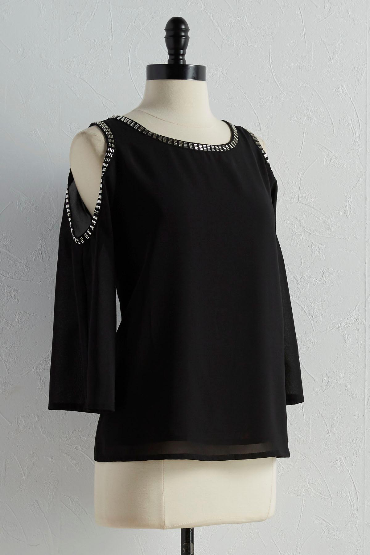 Beaded Trim Bare Shoulder Top