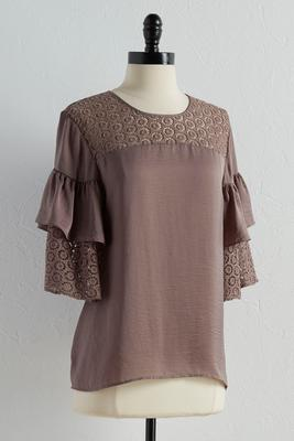 mixed media ruffled sleeve top