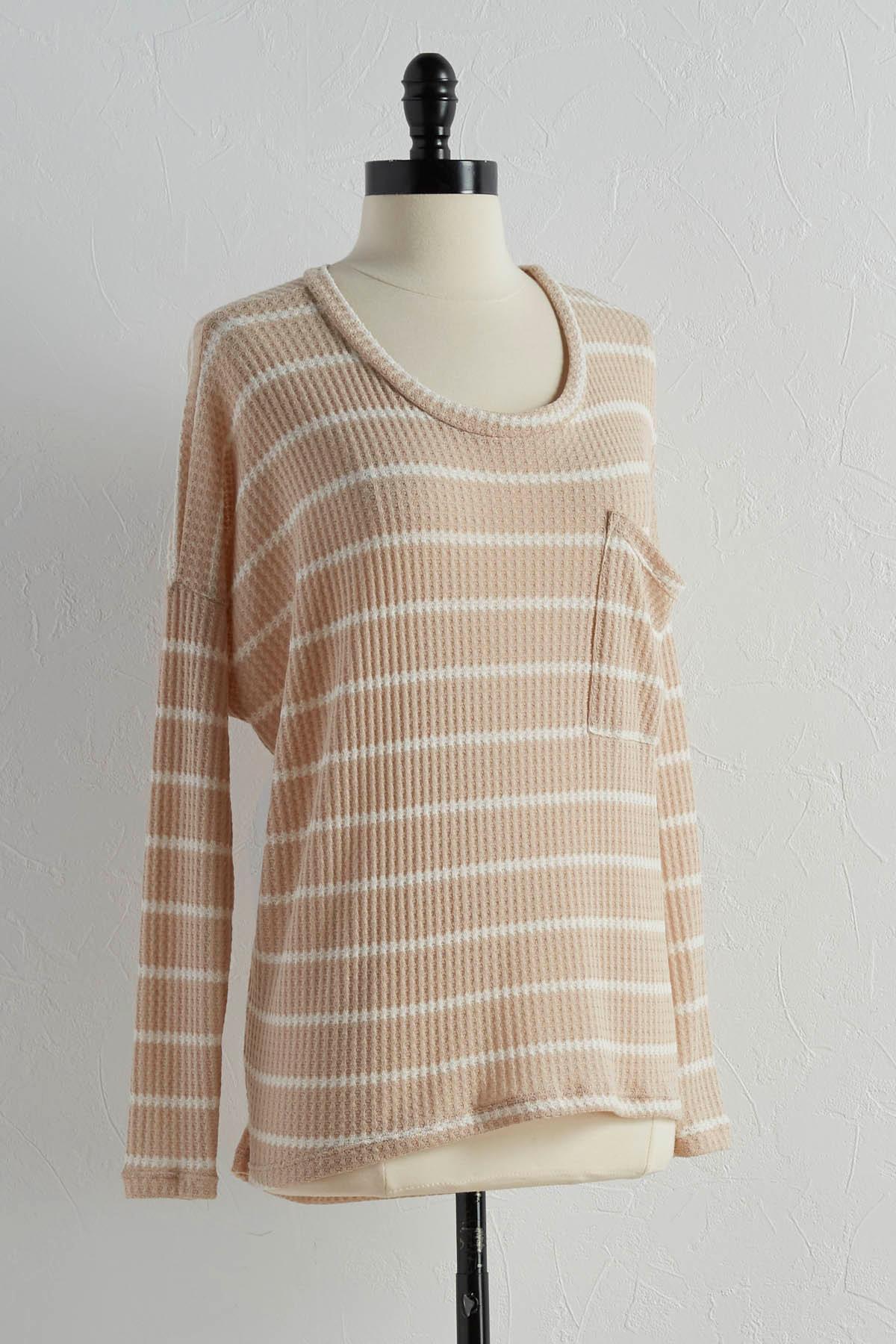 Striped Waffle Knit Tunic