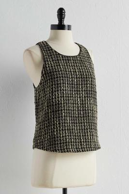 metallic tweed tank