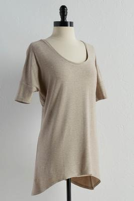 heathered sharkbite tunic top
