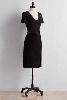 mixed media zip side sheath dress