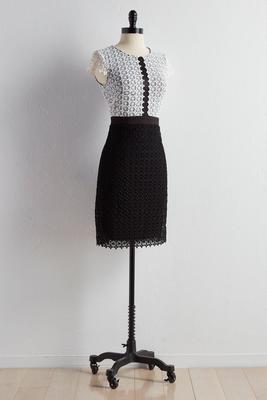 daisy lace colorblock midi dress