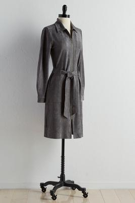 belted faux suede shirt dress
