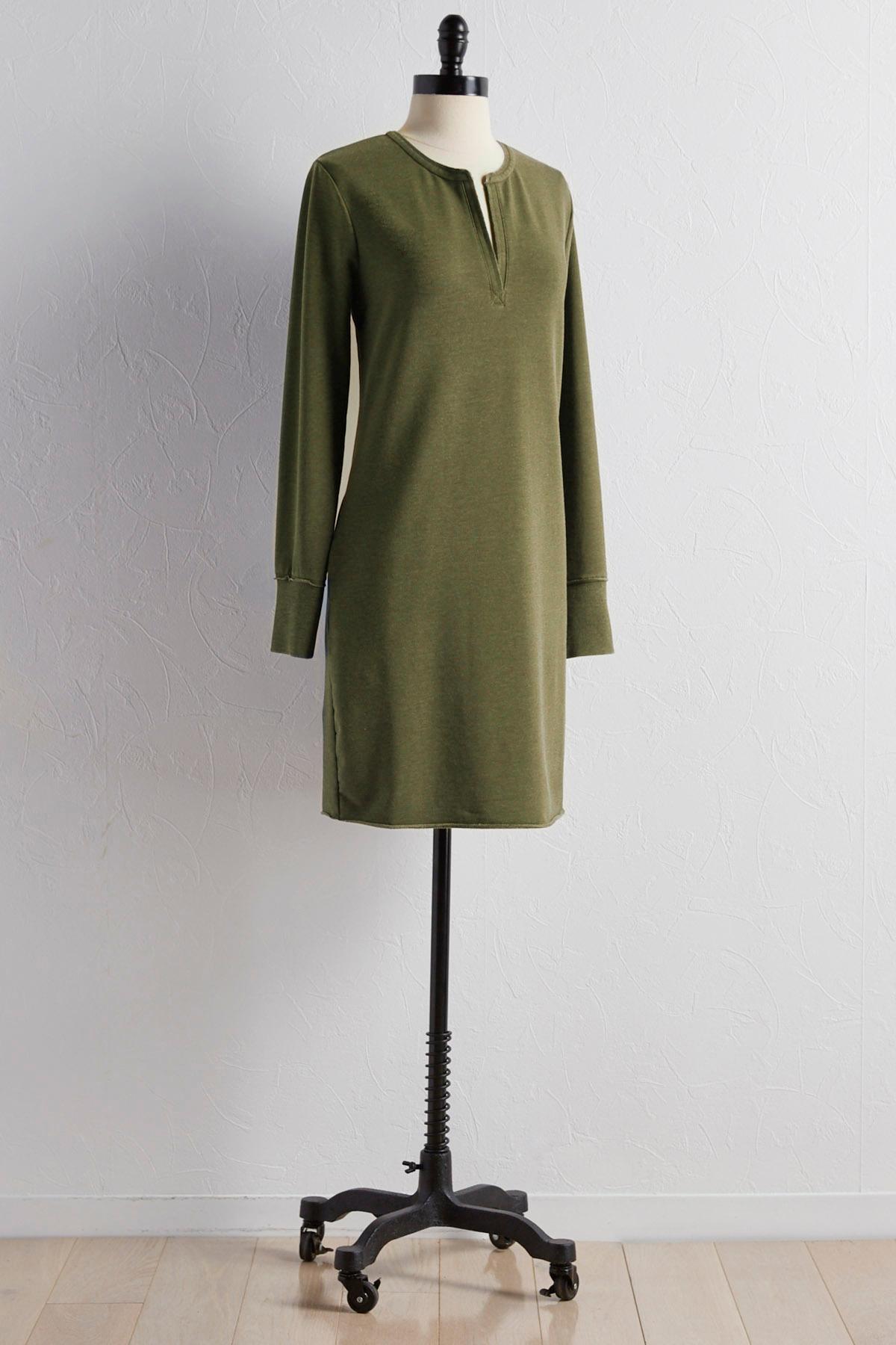 Split Neck Lounge Sweatshirt Dress
