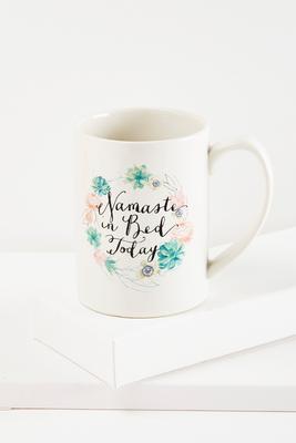 namaste in bed porcelain coffee mug