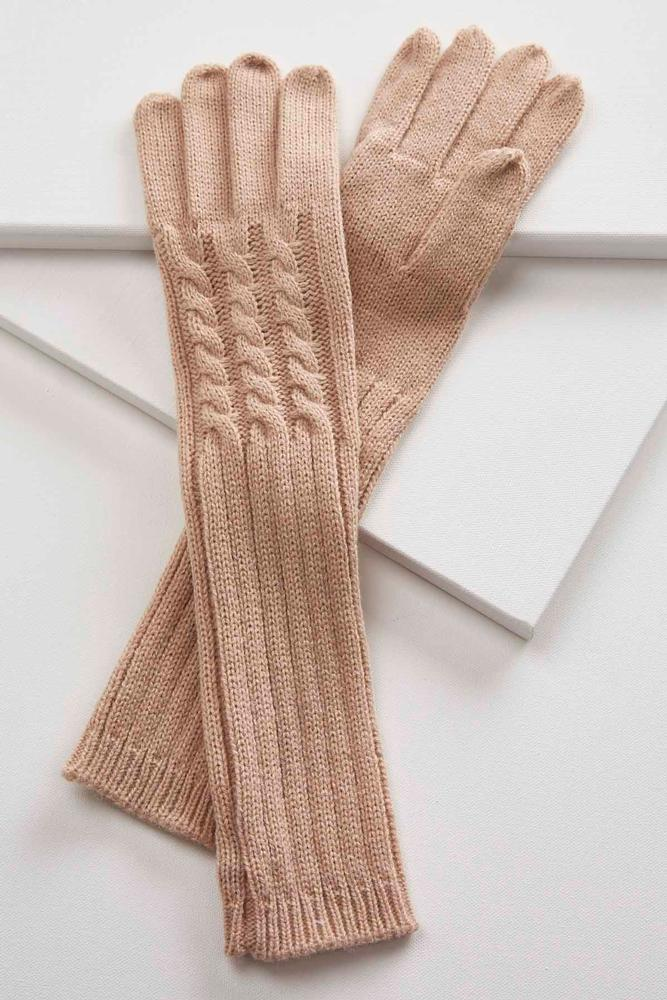 Cable Knit Long Winter Gloves