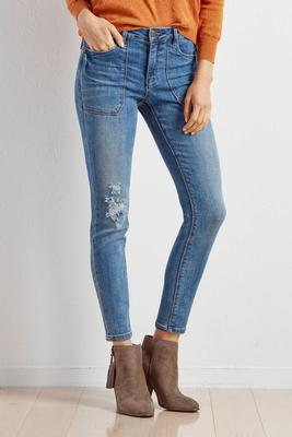 patch front pocket skinny jeans