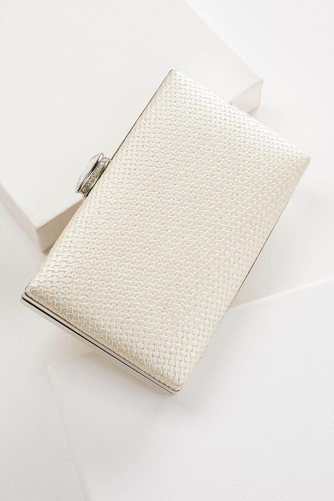 Woven Glitter Box Clutch