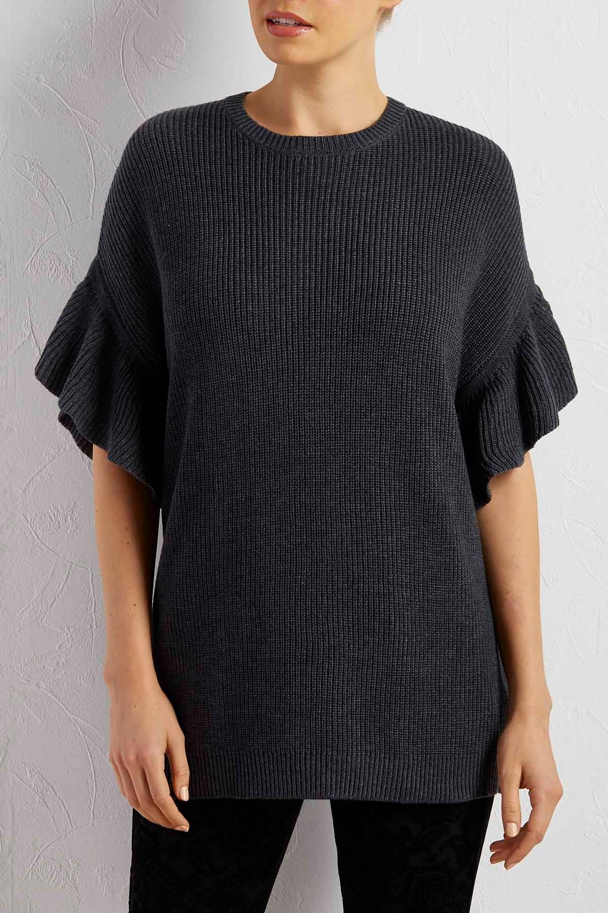 Ruffled Sleeve Ribbed Sweater Tunic