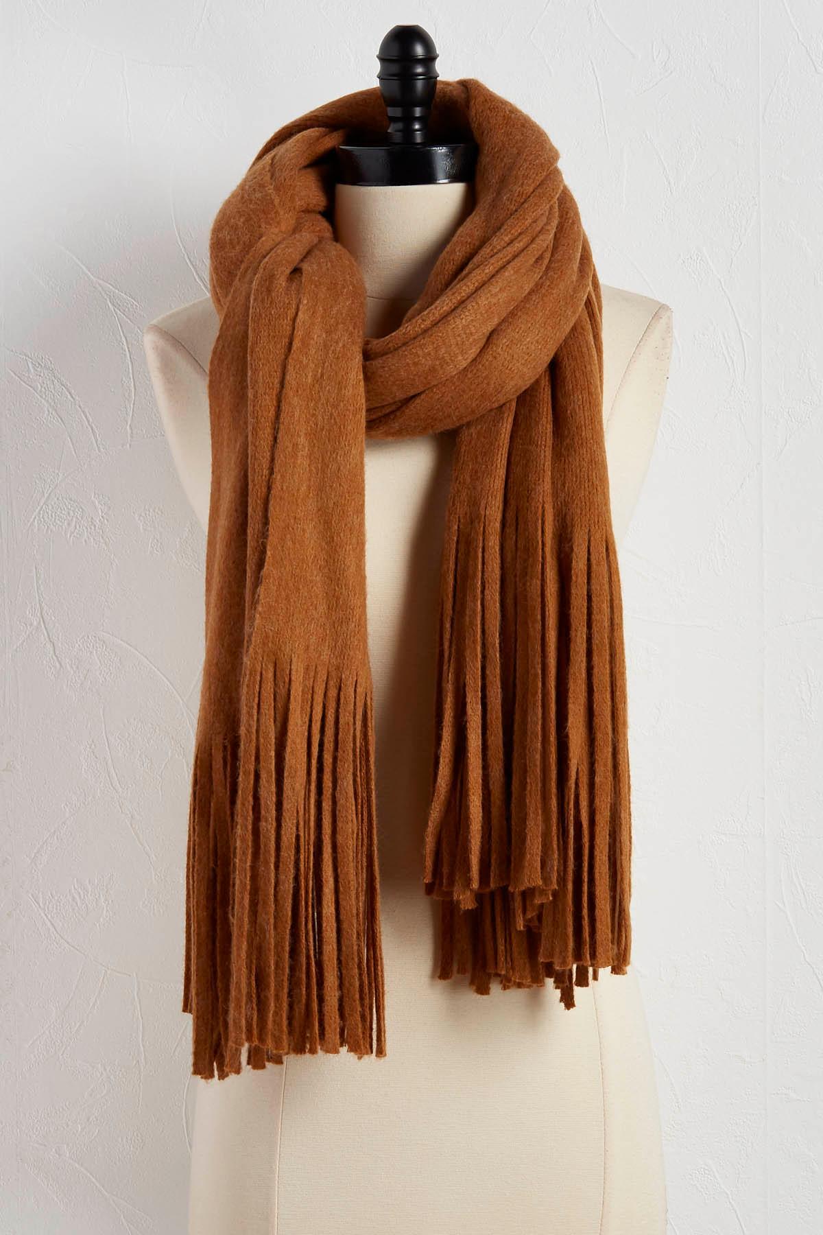 Cozy Knit Fringe Scarf