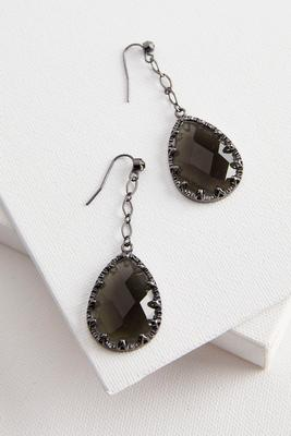 faceted stone dangle earrings