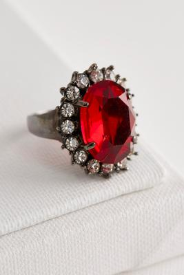 oversized haloed stone ring