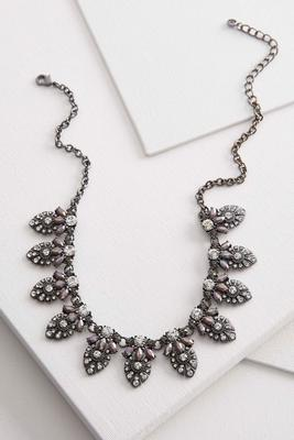 pave petal embellished bib necklace