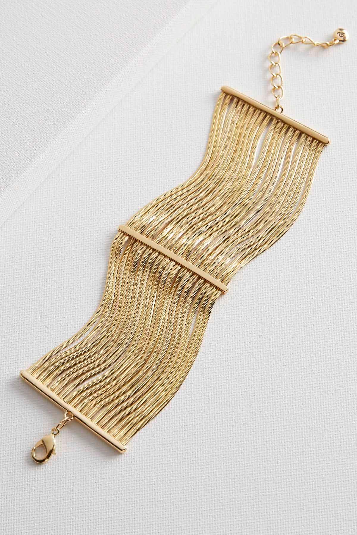 Stationed Snake Chain Brass Bracelet