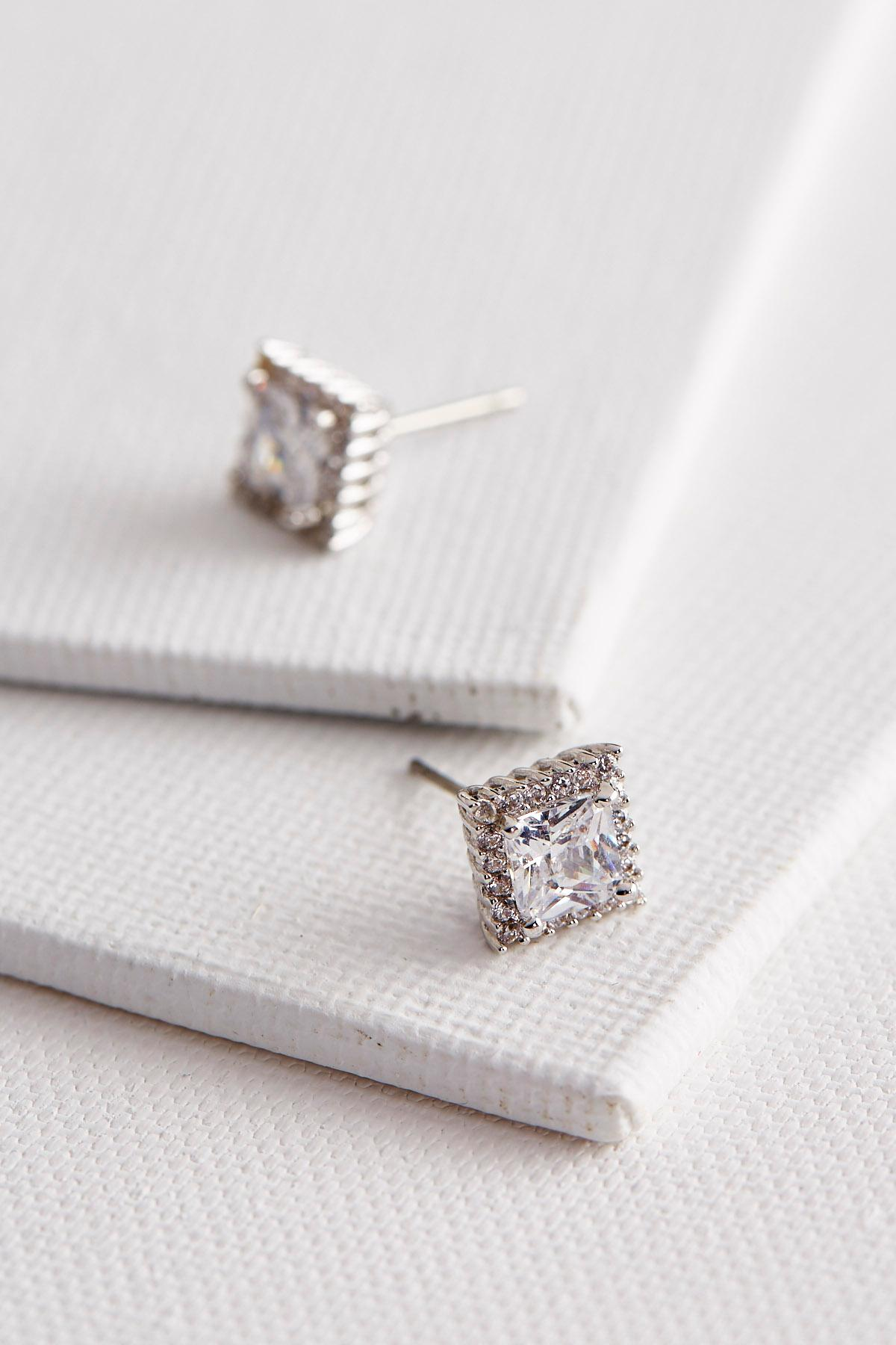 Haloed Brass Cz Princess Cut Stud Earrings