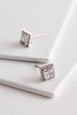 haloed brass cz princess cut stud earrings