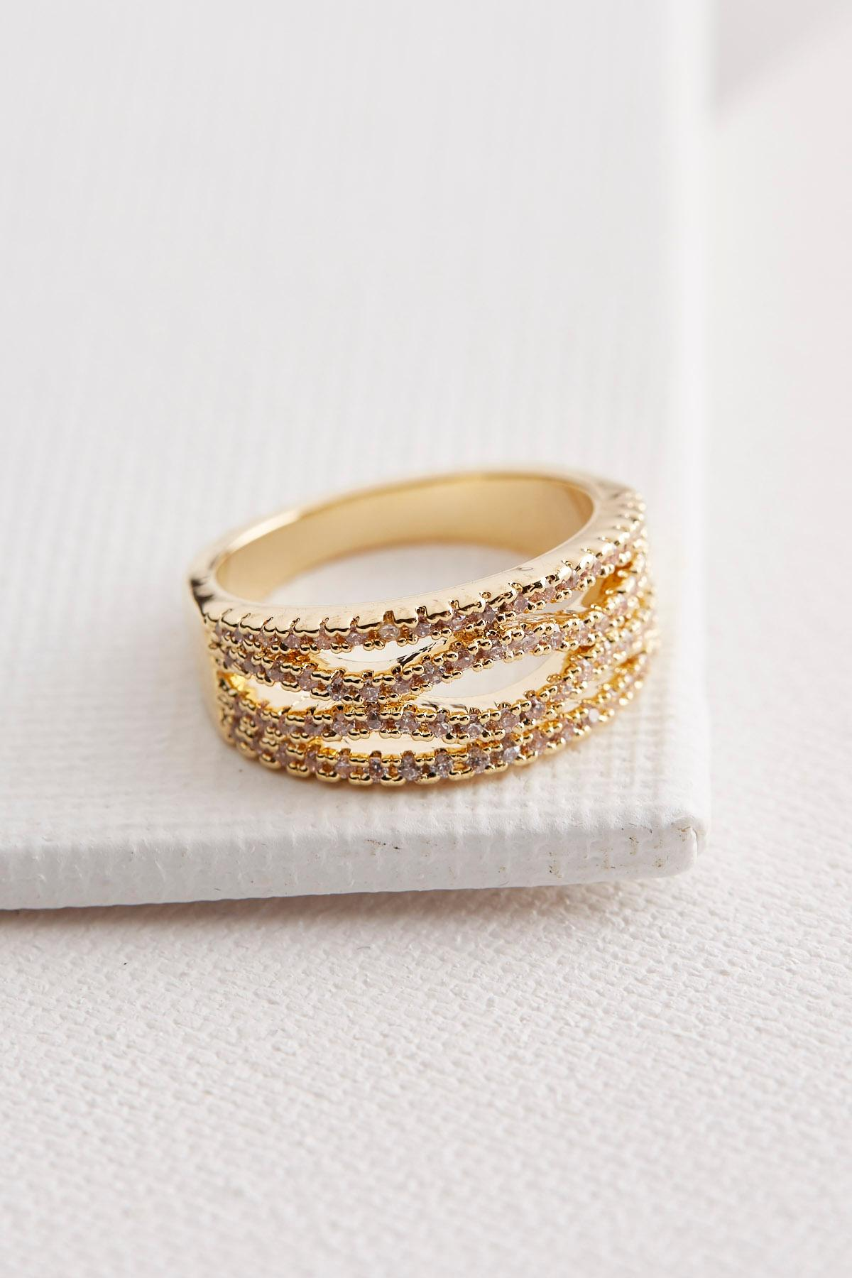 Brass Pave Filigree Ring